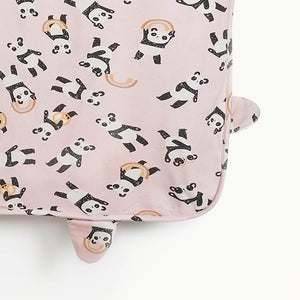 POM - Baby Panda Blanket with Hood and EARS - PINK