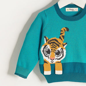 RAFFA - Unisex Kids Knitted Tiger Sweater - Teal
