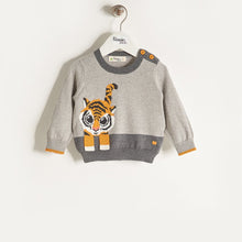 将图片加载到图库查看器,RAFFA - Unisex Baby Knitted Tiger Sweater - Grey