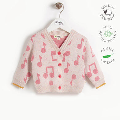 REVOLUTION - Kids Music Jaquard Cardigan  - PINK