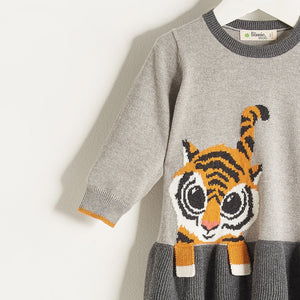 RIKI  - Baby Girl Knitted Tiger Sweater Dress - Grey