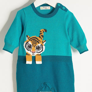 ROBIN - Unisex Baby Knitted Tiger Playsuit - Teal