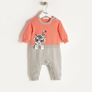 ROBIN - Unisex Baby Knitted Tiger Playsuit - Sorbet