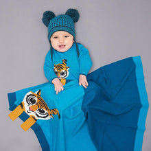 将图片加载到图库查看器,ROBIN - Unisex Baby Knitted Tiger Playsuit - Teal