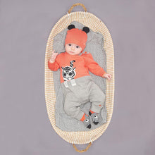 将图片加载到图库查看器,ROBIN - Unisex Baby Knitted Tiger Playsuit - Sorbet