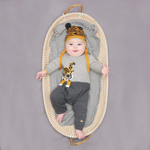 ROBIN - Unisex Baby Knitted Tiger Playsuit - Grey