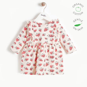 SALLY - Girls Dress with Frill Shoulder  - Strawberry