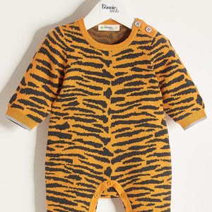 TIGGER - Unisex Baby Knitted Tiger Stripe Playsuit - Honey