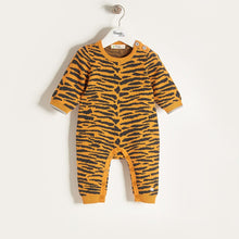 将图片加载到图库查看器,TIGGER - Unisex Baby Knitted Tiger Stripe Playsuit - Honey
