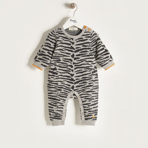TIGGER - Unisex Baby Knitted Tiger Stripe Playsuit - Grey