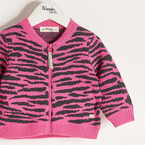 TIMMY - Baby Girl Knitted Tiger Stripe Zipped Cardigan - Pink