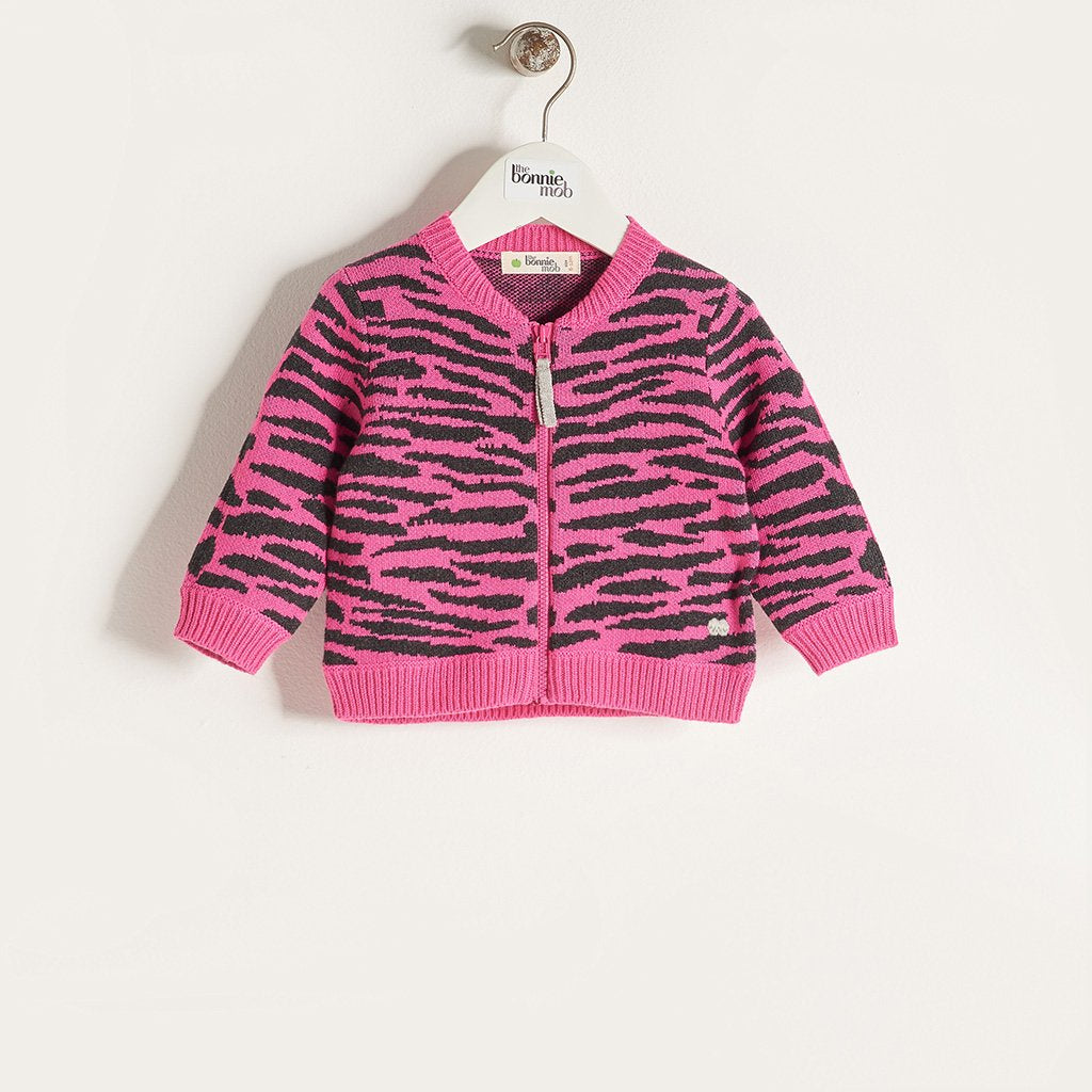 TIMMY - Girls Knitted Tiger Stripe Zipped Cardigan - Pink