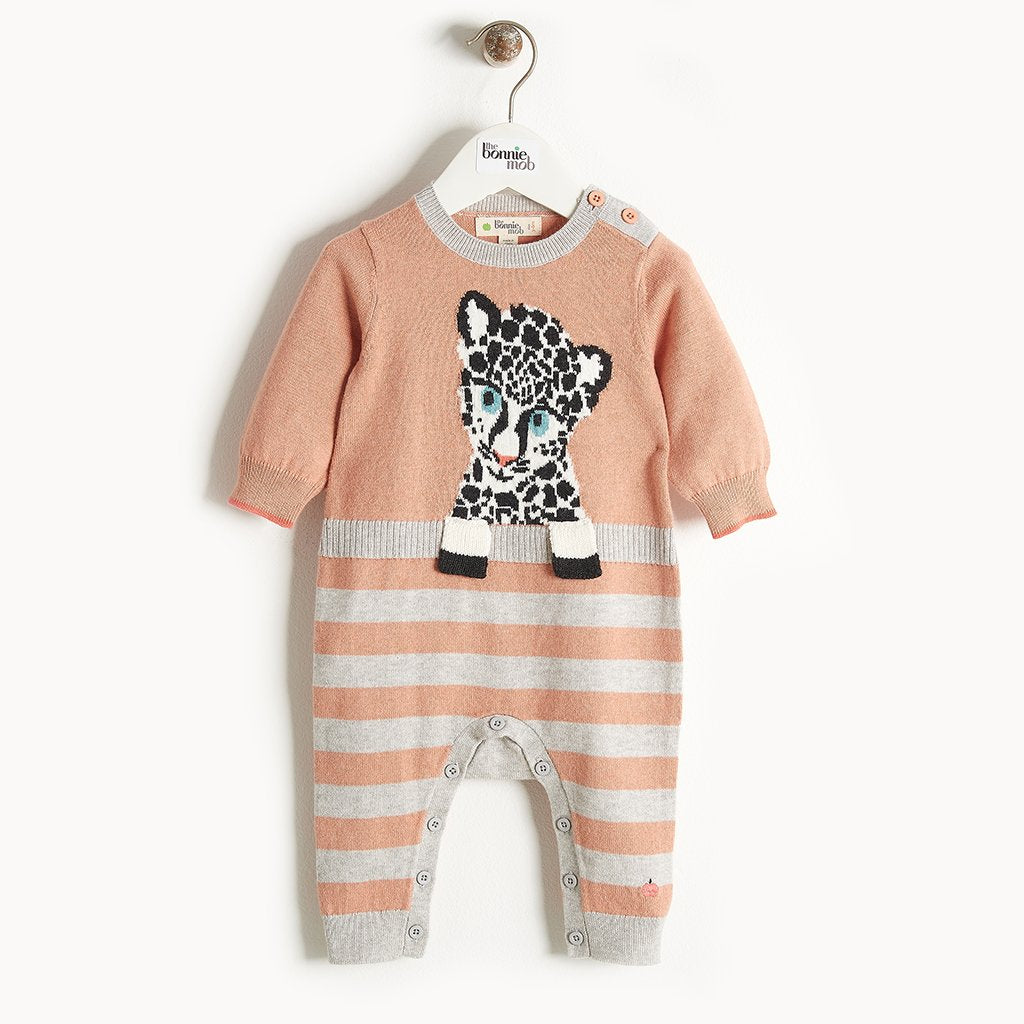 TOTO - Leopard Intarsia Playsuit - Baby Girl - Powder pink