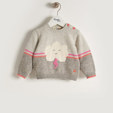 VONNY - Baby Girl Knitted Flash Cloud Sweater - Pink/Grey