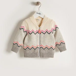 WALT - Girls Chunky Knitted Zig Zag Cardigan - Pinks