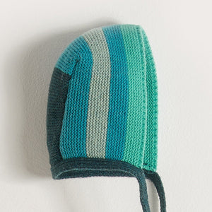 WINK - Baby Boy Knitted Stripe Bonnet - Blues