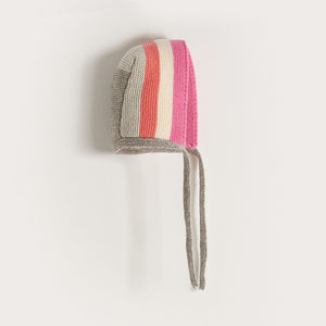 WINK - Baby Girl Knitted Stripe Bonnet - Pinks