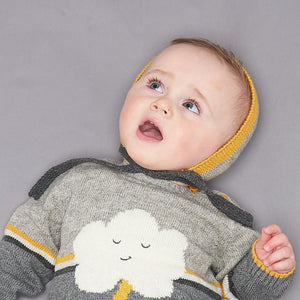 WINK - Unisex Baby Knitted Stripe Bonnet - Greys