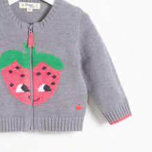 将图片加载到图库查看器,WINSTON - Kids Strawberry Intarsia Cardigan  - GREY