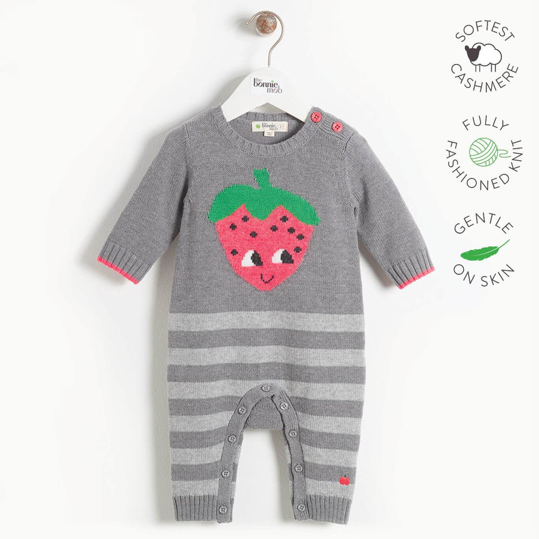 WORLD - Baby Strawberry Intarsia Playsuit - GREY