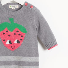 將圖片載入圖庫檢視器 WORLD - Baby Strawberry Intarsia Playsuit - GREY