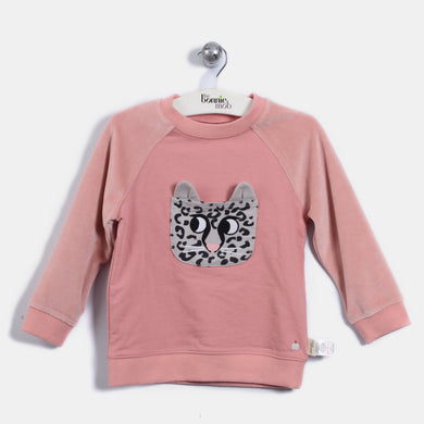 L-LENNY - Leopard Pocket Sweatshirt - Baby Girl - Dusty pink
