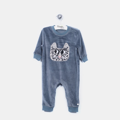L-LEO - Leopard Pocket Playsuit - Baby Boy - Slate blue