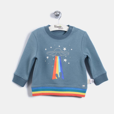 L-QUINN - Quilted Rainbow Spaceship Sweatshirt - Kids Boy - Vintage blue