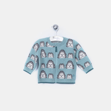 L-HATTY - Mini Spikey Hedghog Cardigan - Kids Boy - Cloudy jade