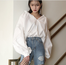 Load image into Gallery viewer, New V-collar Loose Lantern Sleeve Shirt Women