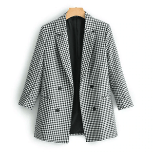 Elegant black white plaid blazer jacket Three Quarter sleeve