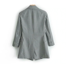 Load image into Gallery viewer, Elegant black white plaid blazer jacket Three Quarter sleeve