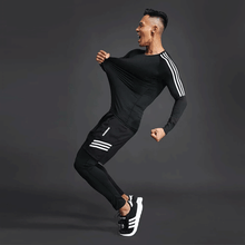 Load image into Gallery viewer, training suit men's gym jogging running suit men's tight fitness workout clothes