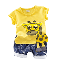 Load image into Gallery viewer, T-shirt Shorts with Cute Giraffe Print for baby boys