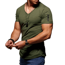 Load image into Gallery viewer, Slim V-neck T-shirt casual sports