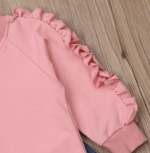 Load image into Gallery viewer, 2 Pcs Kids Baby Girl Clothes Ruffle Tops Sweatshirt Soft Pants