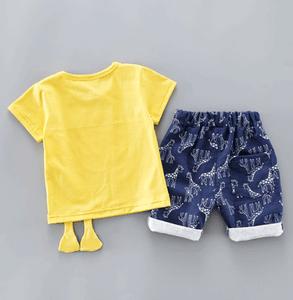 T-shirt Shorts with Cute Giraffe Print for baby boys