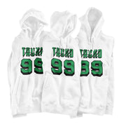 Tacko Fall Signature White Hoodie Green Print Front Multi