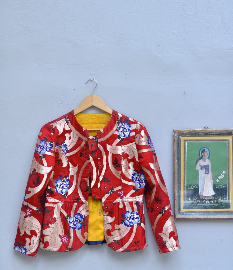 Medium, Dagmola,  Gyasar Brocade Jacket in Deep Red with Zari Weave, Handmade - kinchecom