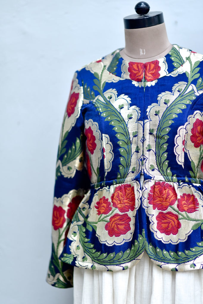 Medium, Resoor, Hand Crafted Pure Brocade Peplum Jacket in Navy Blue & Gold - kinchecom