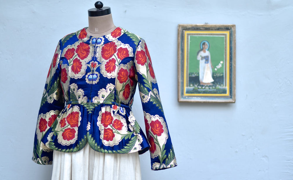 Large, Resoor Yangchen, Gyanta Brocade Jacket in Beautiful Navy Blue & Gold - kinchecom