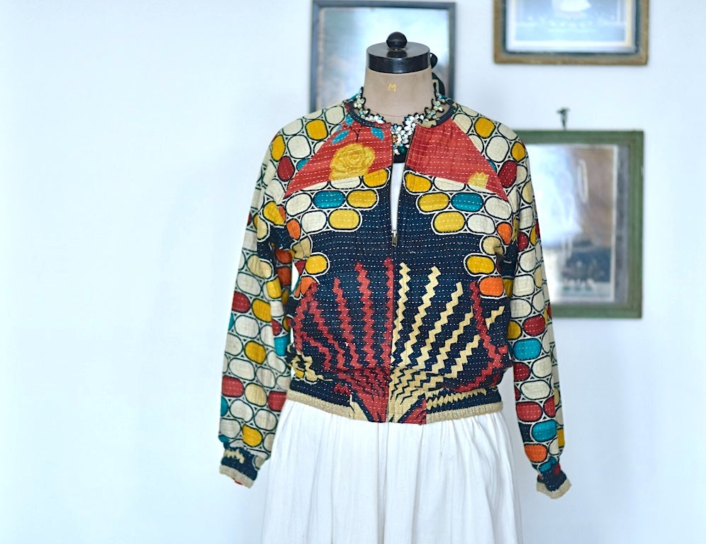 Denise, Size Medium Vintage Hand Crafted Bomber Jacket in Retro Print - kinchecom
