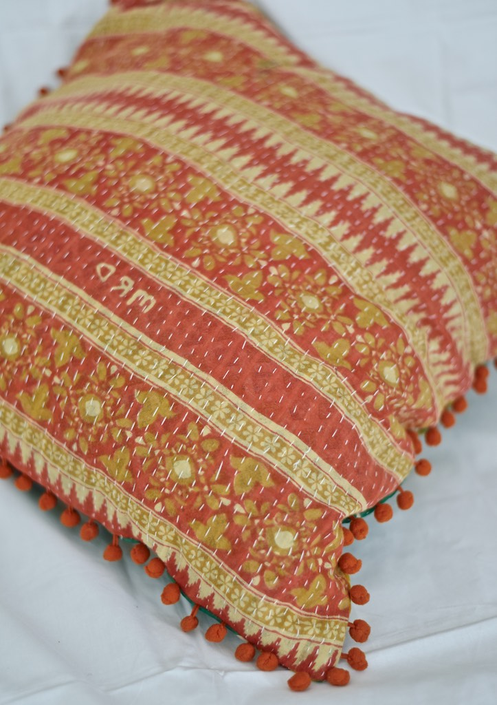 "Ganga, Reversible Vintage Kantha Cushion Cover With Pom Poms 20X20"" - kinchecom"