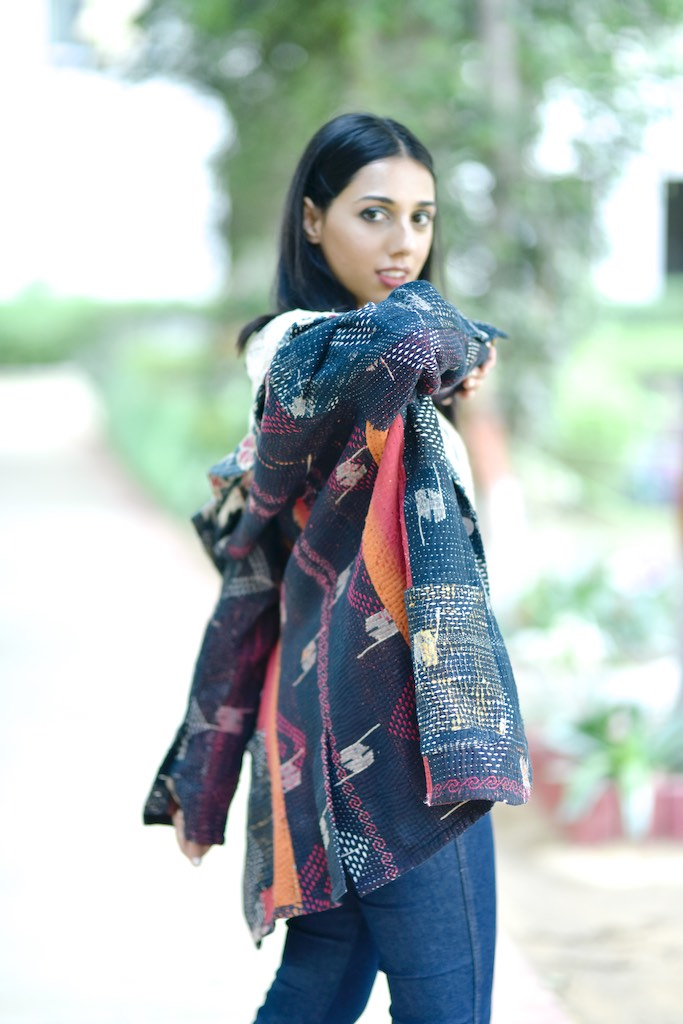 Aziz, Small Size, Boyfriend Blazer, Made with Rare Vintage Kantha Fabric - kinchecom