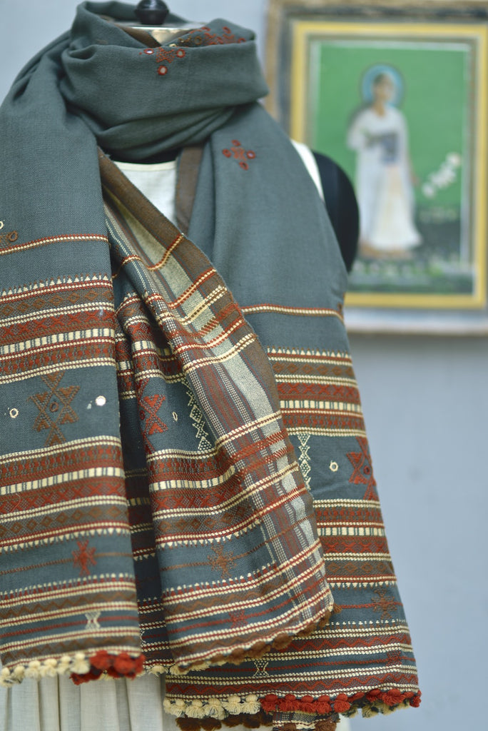 Reva, Hand Made Pure Wool Shawl from Gujarat, One of a Kind - kinchecom