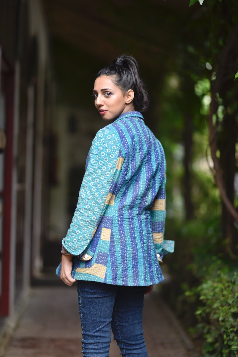 Austin,Small, Boyfriend Blazer, Jacket Made with Vintage Kantha Fabric - kinchecom