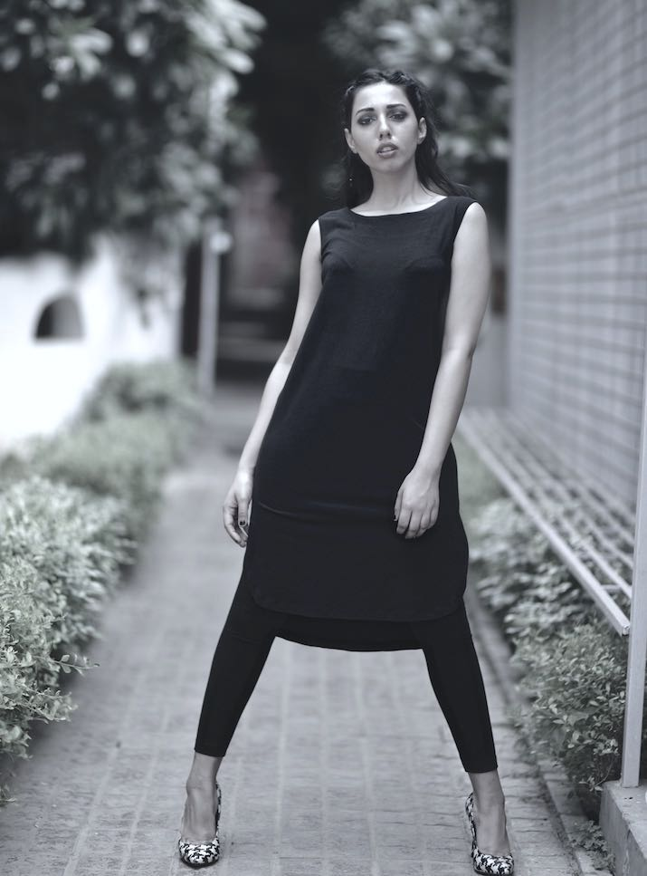Autumn Tunic, Low High Hem/ Sleeveless All Black/ Organic - kinchecom