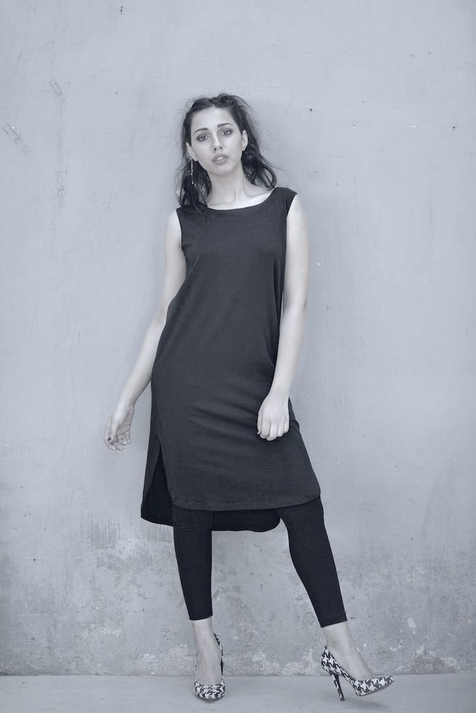 Autumn Tunic, Low High Hem/ Sleeveless All Black/ Organic