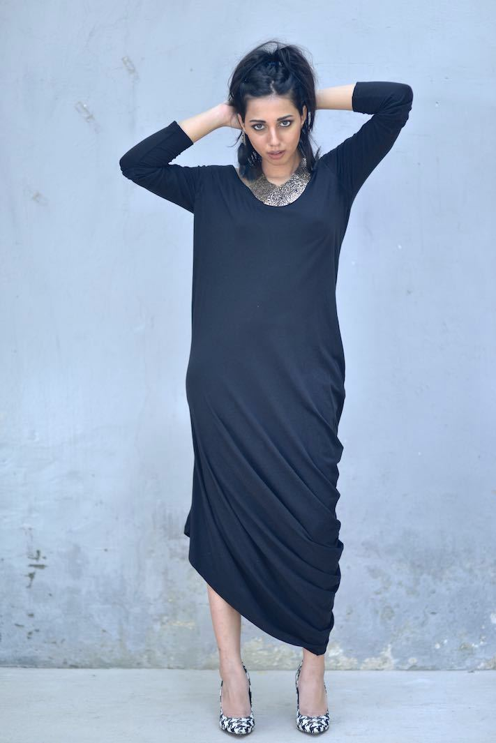 Loose Fit Asymmetrical Ankle Length Dress, Gathered at Hip/ Chandra