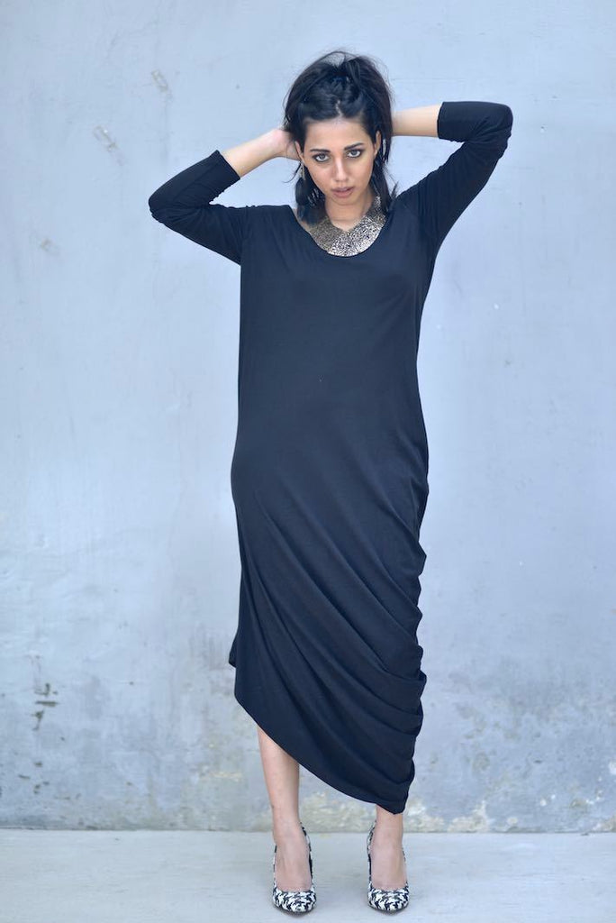 Loose Fit Asymmetrical Ankle Length Dress, Gathered at Hip/ Chandra/ Mix & Match - kinchecom